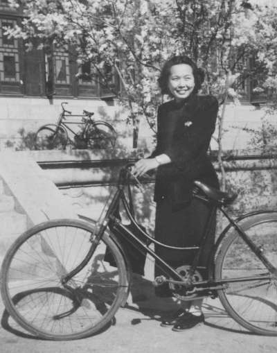 Rose with bike 1940s